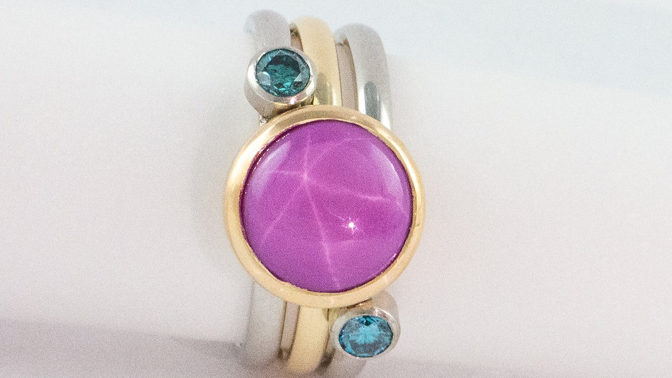 Star ruby and blue diamond stacker ring
