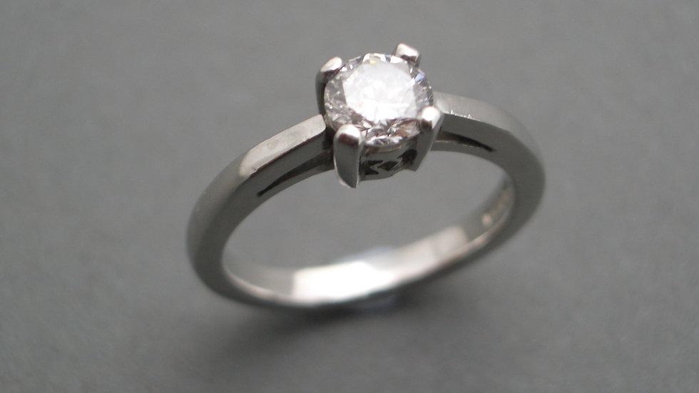 Single stone diamond ring set in platinum
