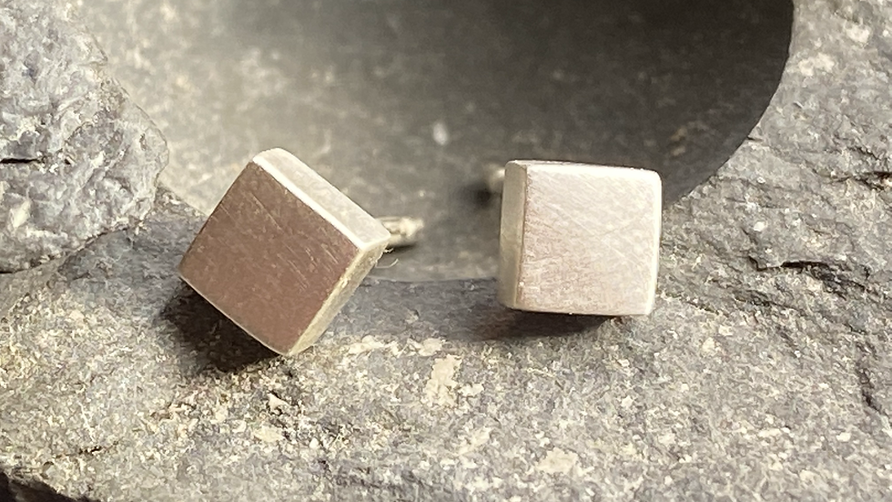 Silver tiny square earrings