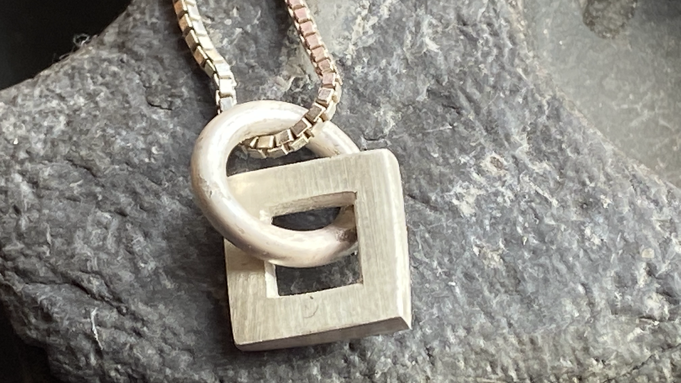 Silver shapes and symbols little square pendant and chain