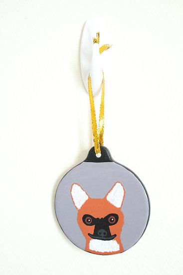 Maned Wolf Ornament (Porcelain)