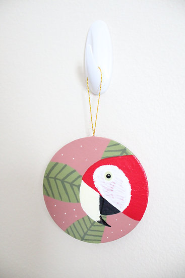 Scarlet Macaw Ornament (Paper Mache)