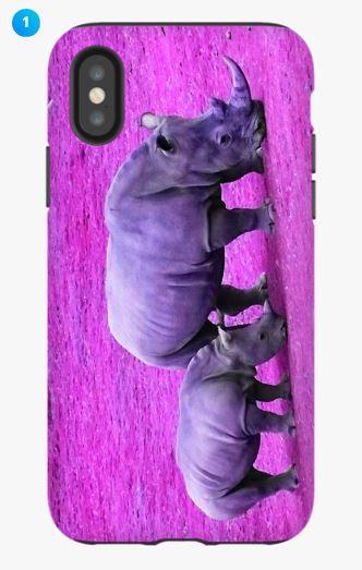 White Rhino Apple Phone Case (Color)