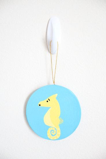 Yellow Seahorse Ornament (Paper Mache)