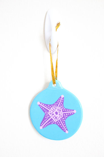 Purple Starfish Ornament (Porcelain)
