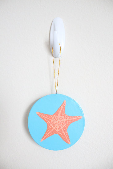 Orange Starfish Ornament (Paper Mache)