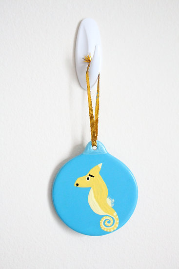 Yellow Seahorse Ornament (Porcelain)
