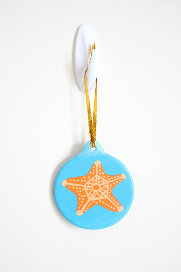 Orange Starfish Ornament (Porcelain)
