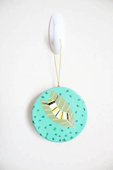 Monarch Caterpillar Ornament (Paper Mache)