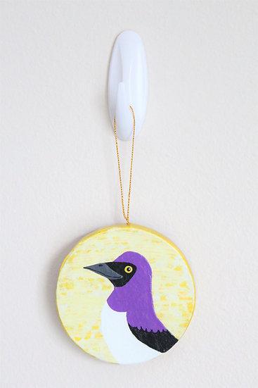 Amethyst Starling Ornament (Paper Mache)