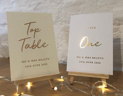 Wedding Table Numbers - Personalised