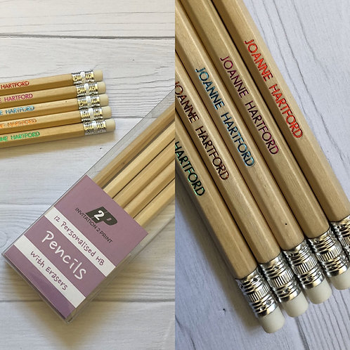 Personalised Pencils with Erasers - Pack of 12 HB