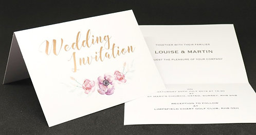 Foiled Classic - Wedding Invitation - White - A5 Folded