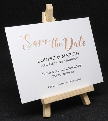 Foiled Classic - Save The Date Card - White - A6