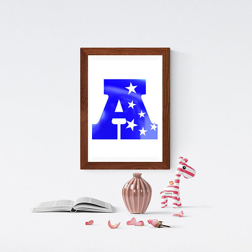 Wall Art - Letter with Star Motif - Hot Foiled (Unframed)