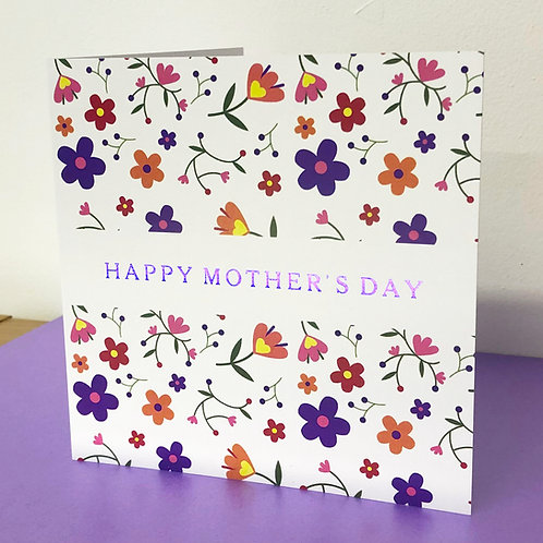 Luxury Mother's Day Card - Vibrant Flowers - Hot Foiled