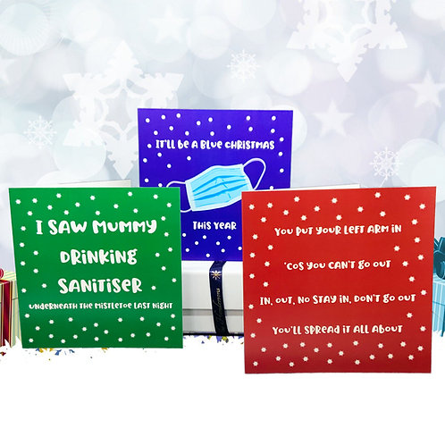 Luxury Christmas Cards - Covid Themed - Set of 3