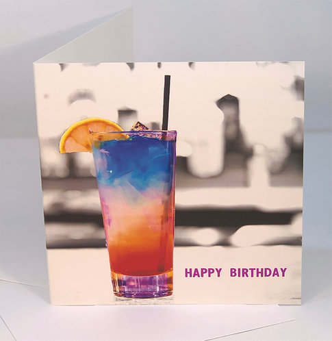 Birthday Card - Rainbow Cocktail - Happy Hour Collection