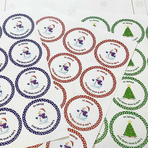 Christmas Gift Stickers Personalised - 64mm Round