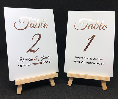 Wedding Table Numbers - Personalised