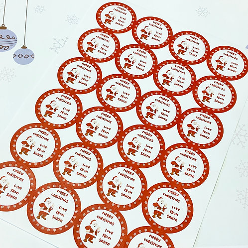 Christmas Gift Stickers - Santa - 45mm Round