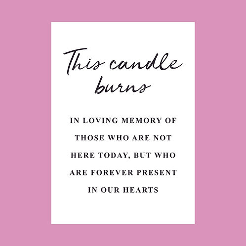 This Candle Burns in Memory Sign - Foiled
