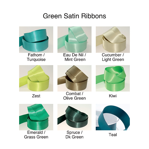 Green Ribbons - 15mm - Personalised - Satin Double-Faced