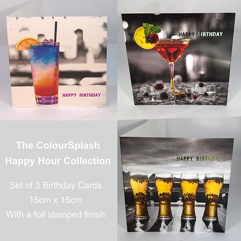 Birthday Cards - Happy Hour Collection - Set of 3