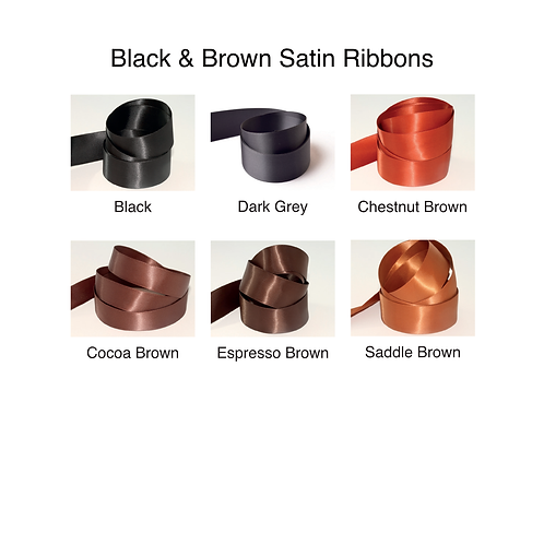 Black & Brown Ribbons - 10mm - Personalised - Satin Double-Faced