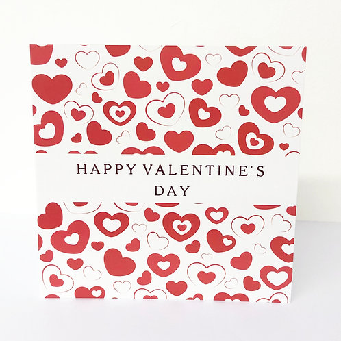 Luxury Valentine Card - Red Hearts - Hot Foiled