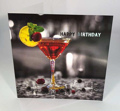 Birthday Card - Red Cocktail - Happy Hour Collection