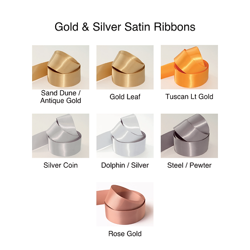 Gold & Silver Ribbons - 15mm - Personalised - Satin Double-Faced