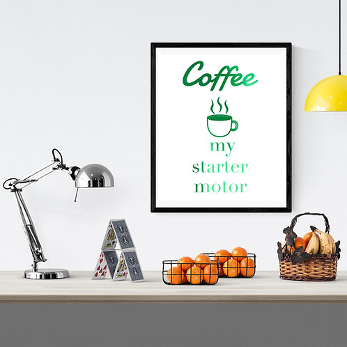 Wall Art - Coffee Starter Motor - Hot Foiled (Unframed)