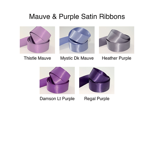 Mauve & Purple Ribbons - 25mm - Personalised - Satin Double-Faced