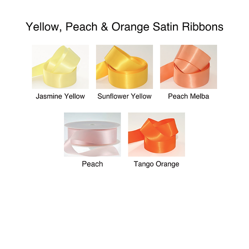 Yellow, Peach & Orange Ribbons - 25mm - Personalised - Satin Double-Faced