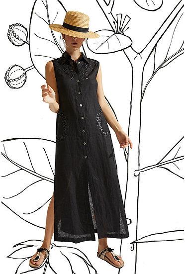 Robe LIN noir  MALIPARMI
