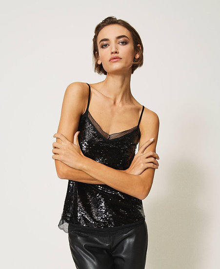Top sequins Noir