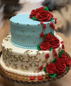 2 Tier Red Roses & luster 11