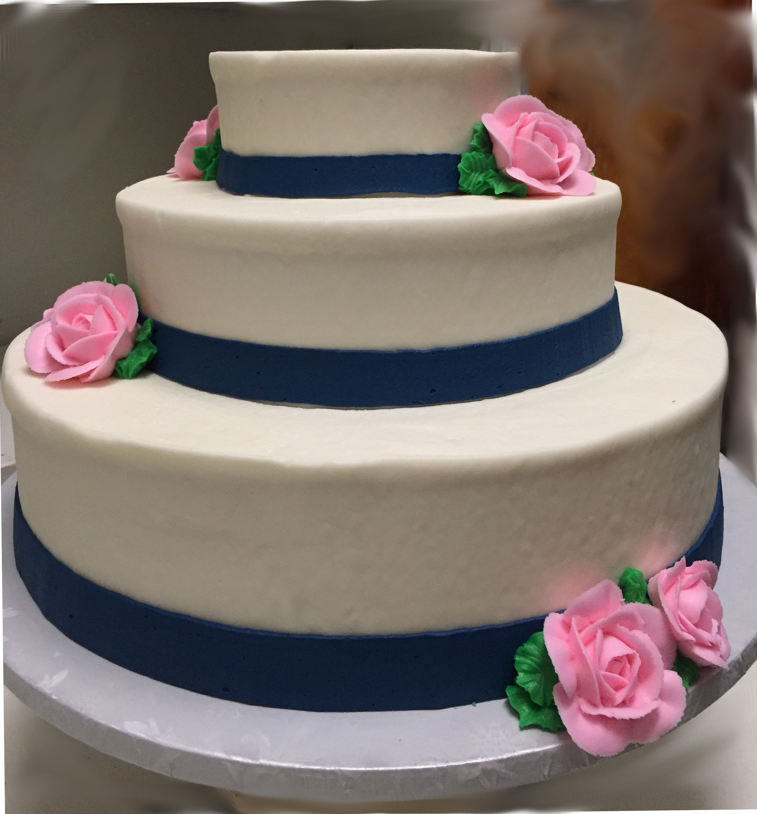 Wedding Cake w/ Navy Blue Ribbon