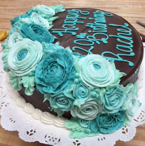 Blue Flowers Chocolate Iced Cake 7