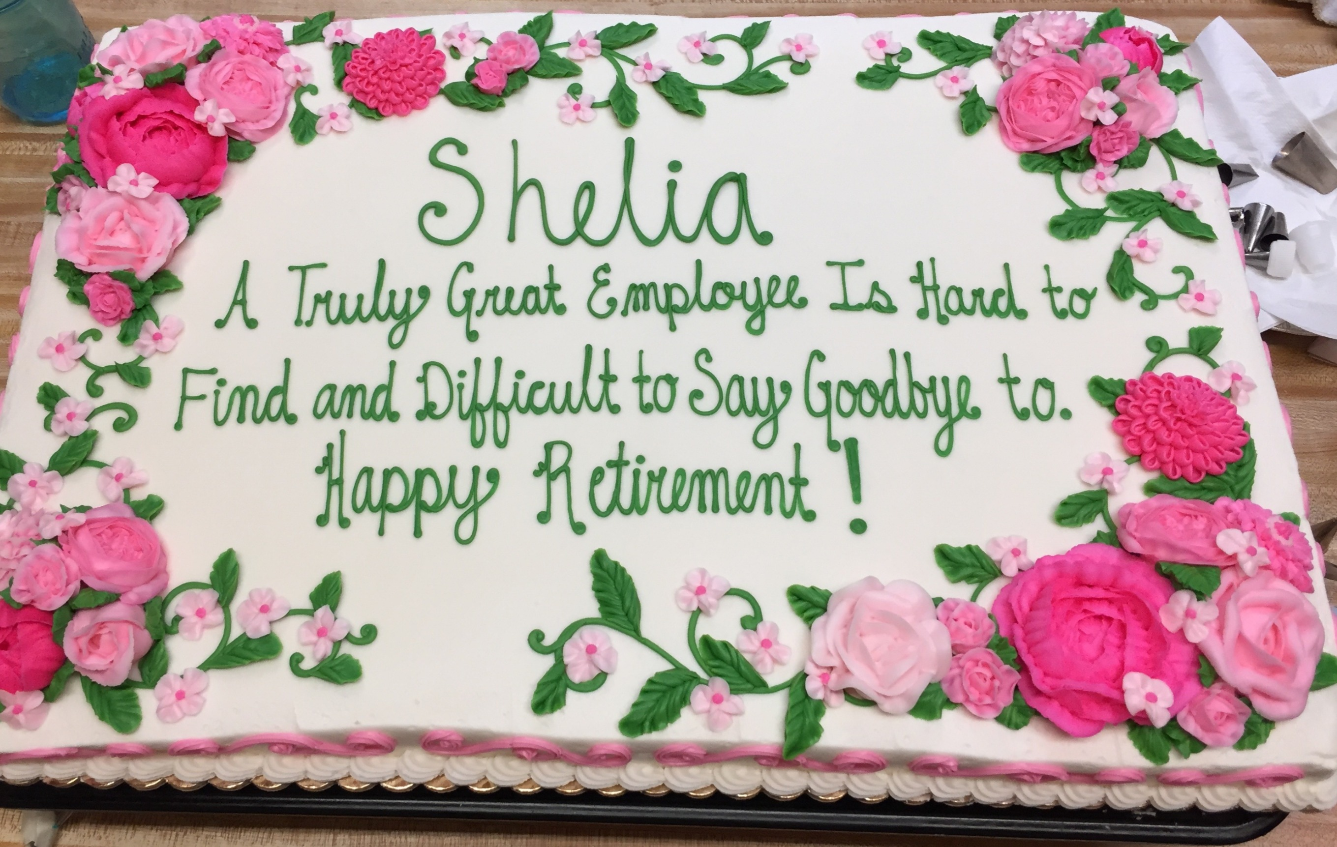 Pink Flower Retirement Cake 24