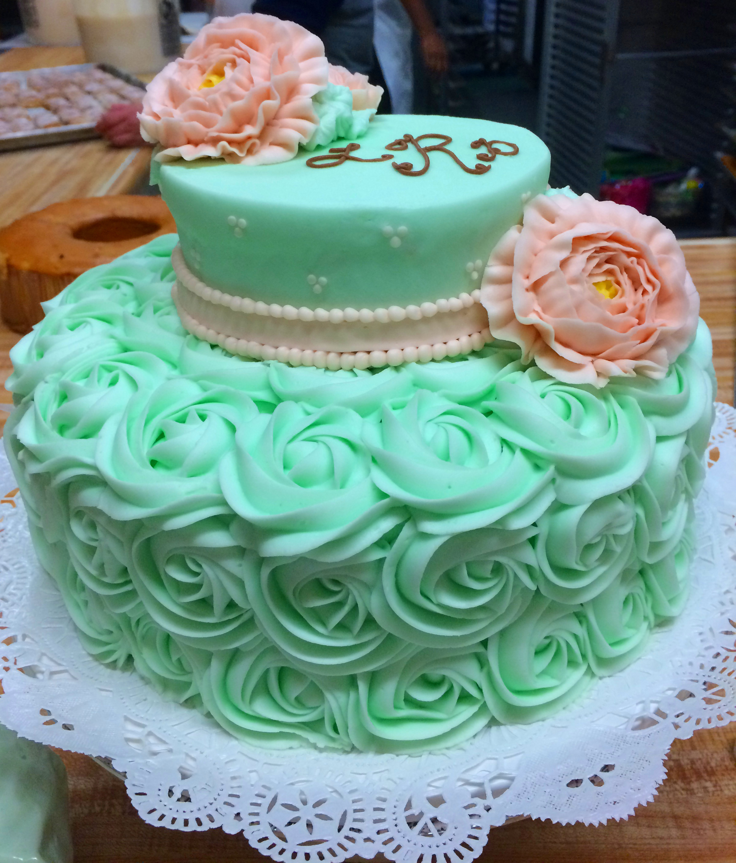 Green Rosettes Pink Rose 34