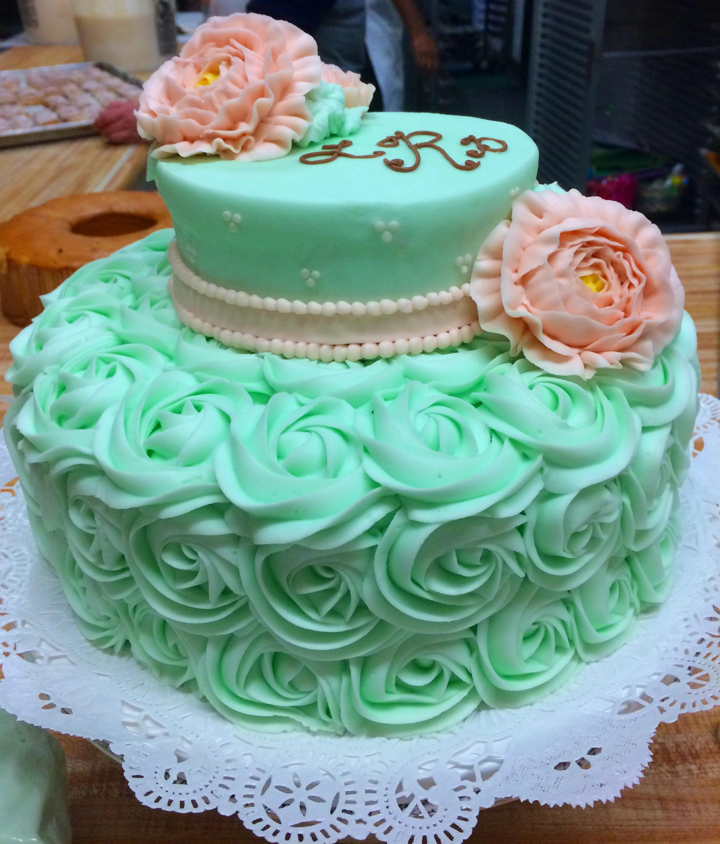 Green Rosettes Pink Rose 34