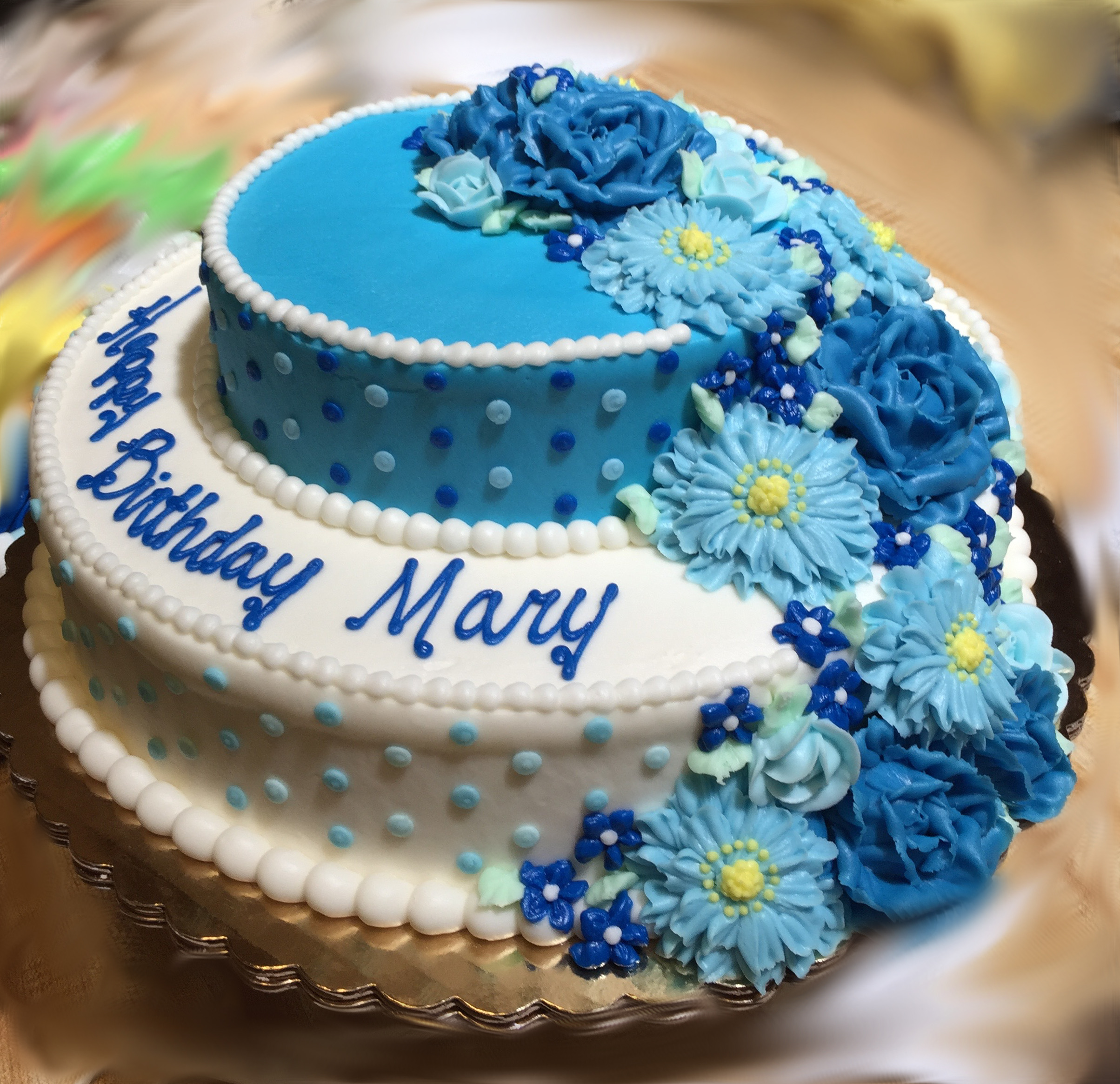 2 Tier Blue & White Bday Cake 9