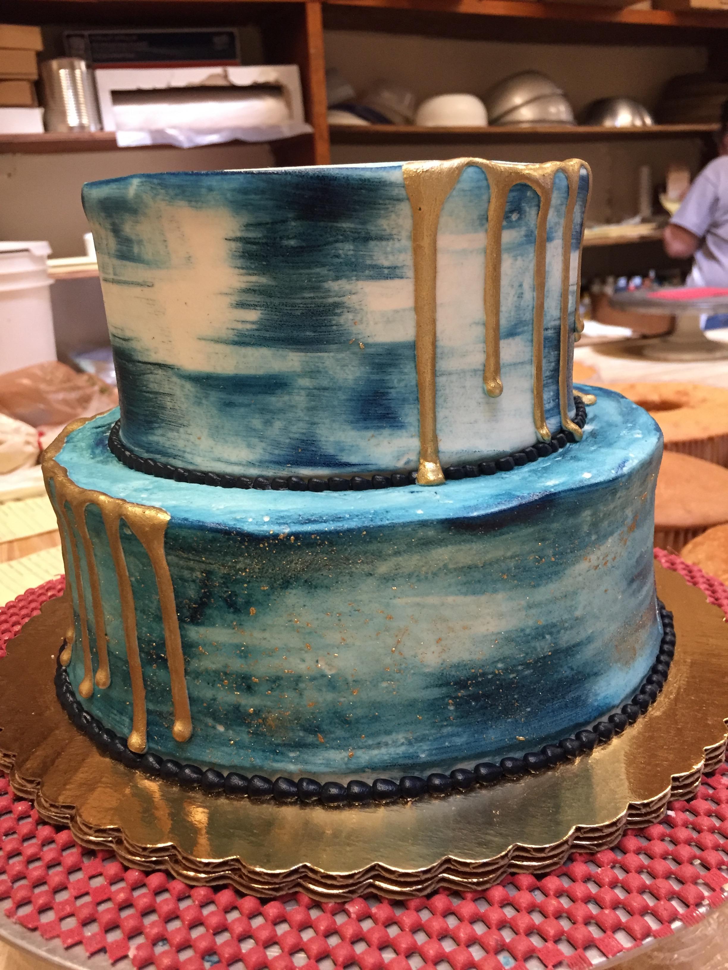 Tye Dye Blue Gold Drip Cake 23