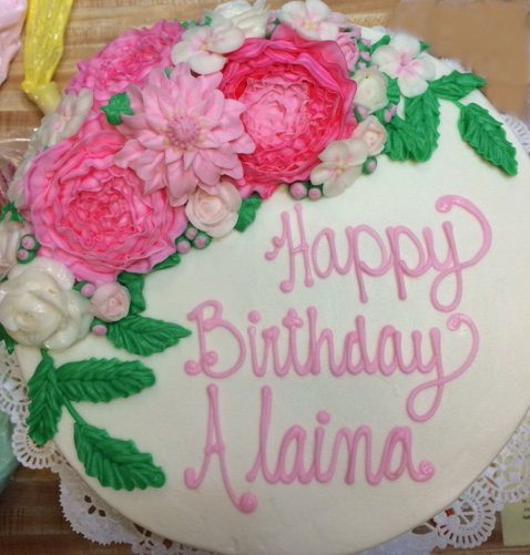 B-day Cake w/ Pink Cabbage Roses 21
