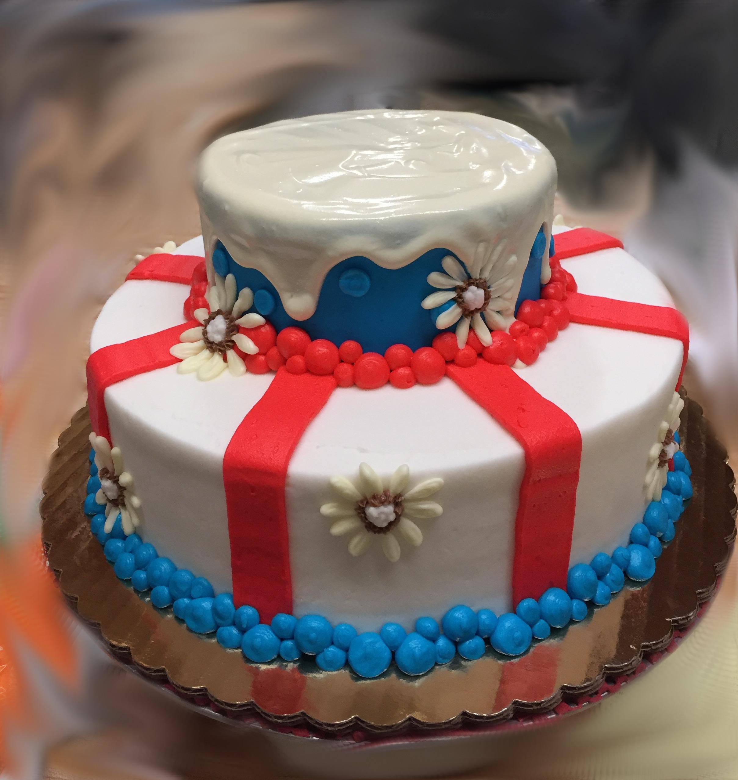 Red White & Blue Drip cake 52