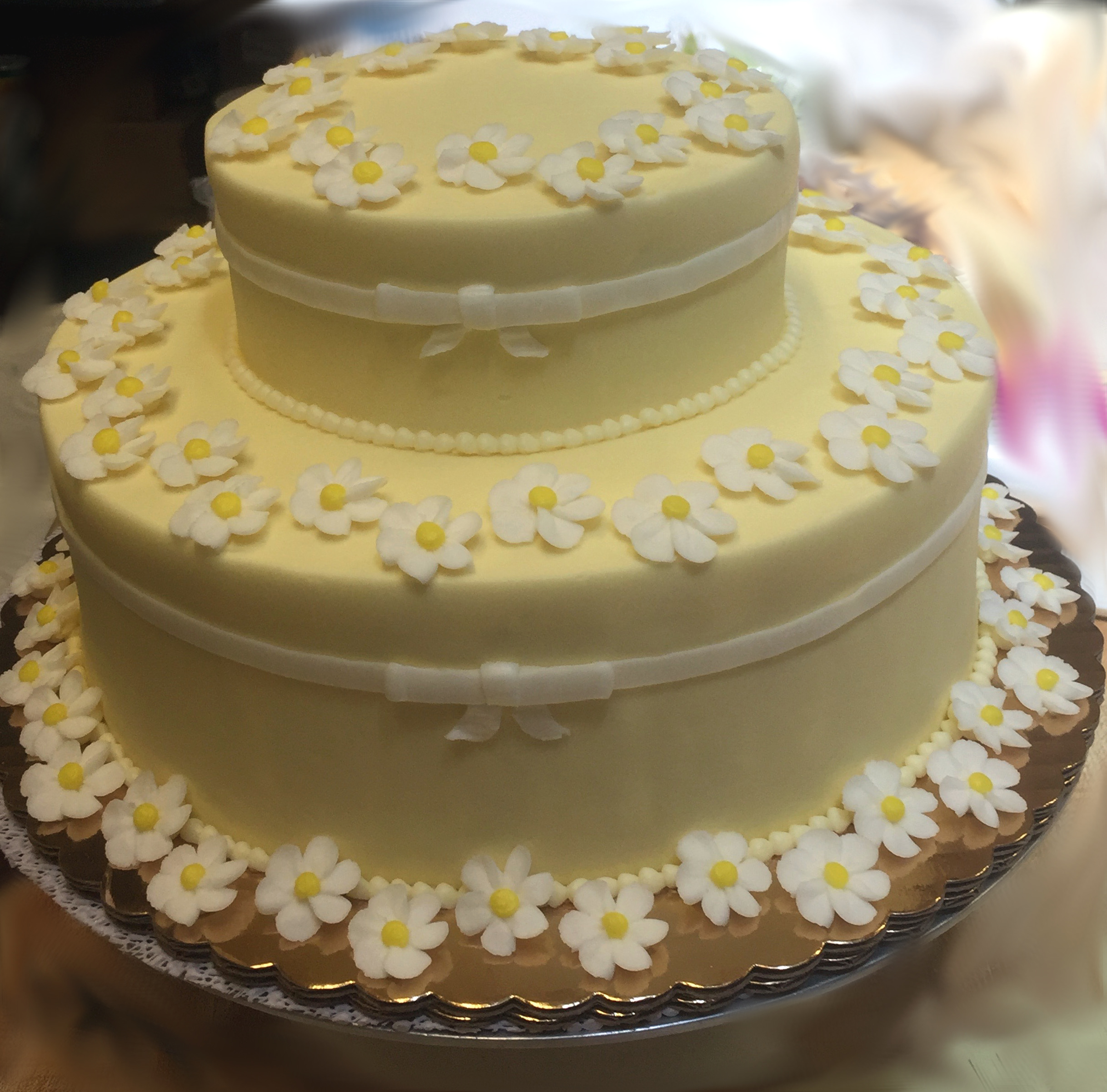 Yellow Flat Flower Cake 6