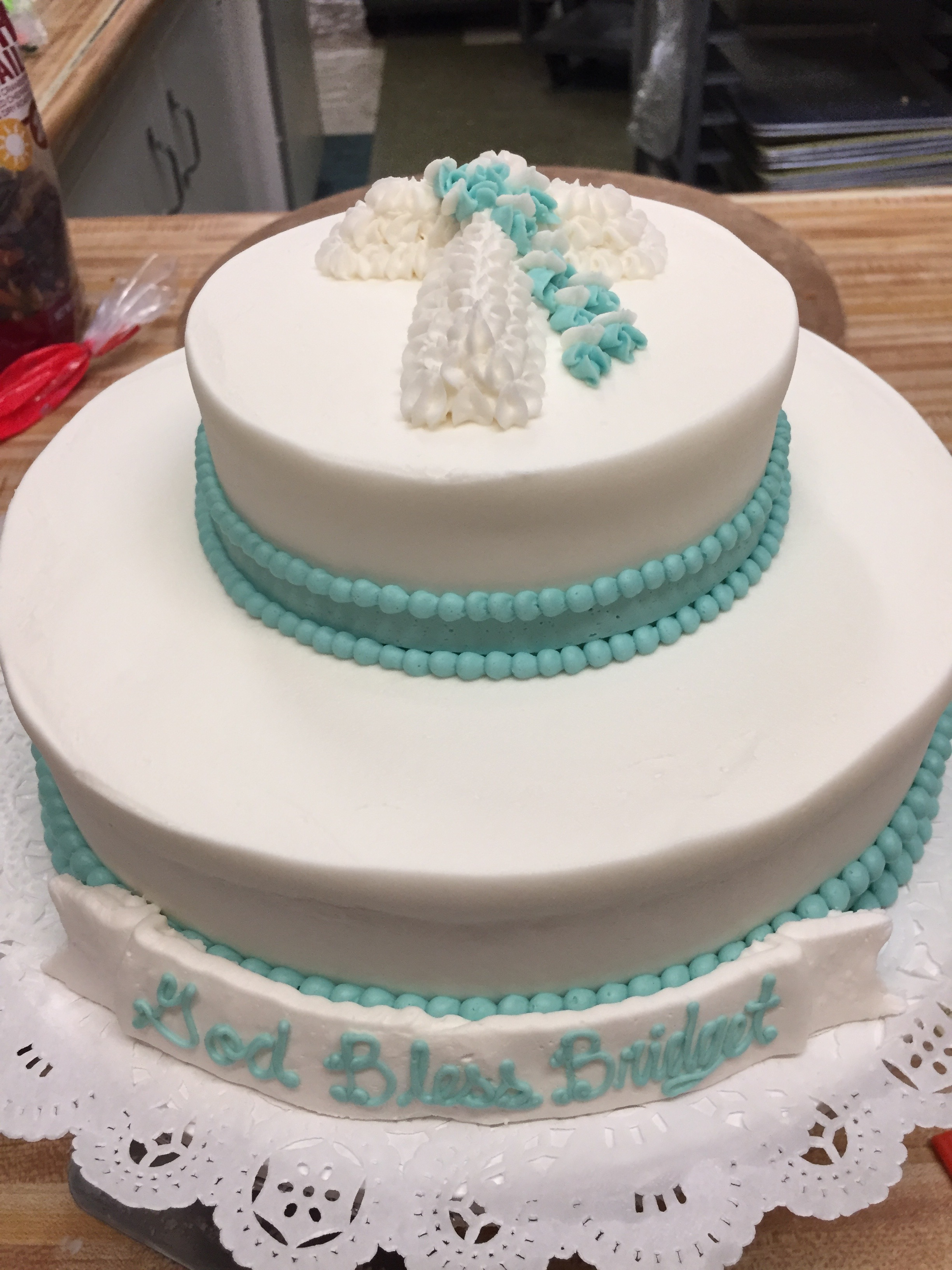 White and Blue Cross Cake 25