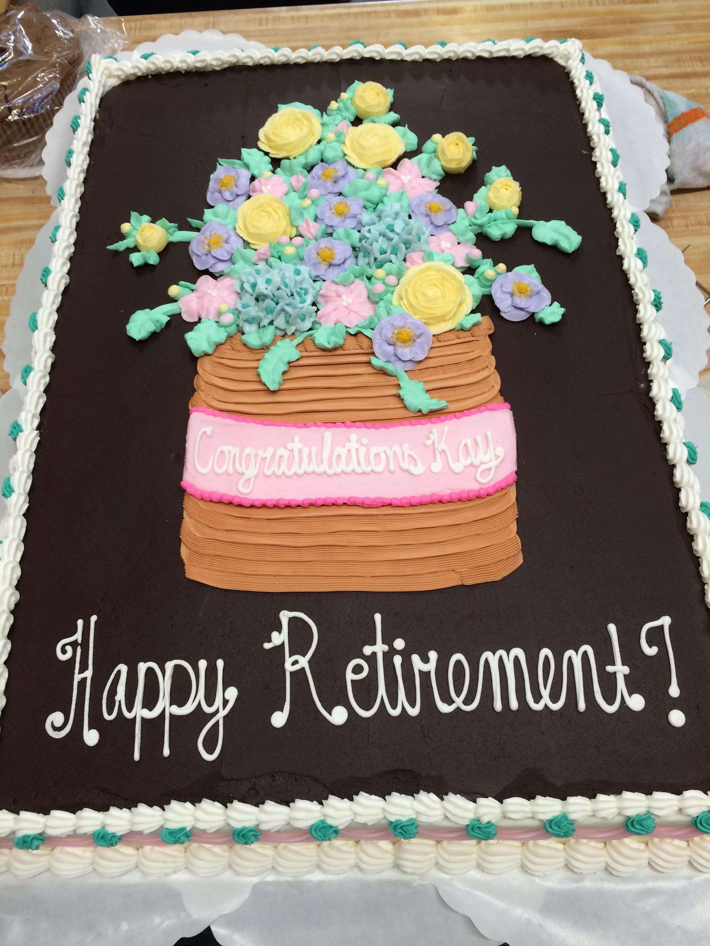 Retirement Cake w/ Pink Flowers 18